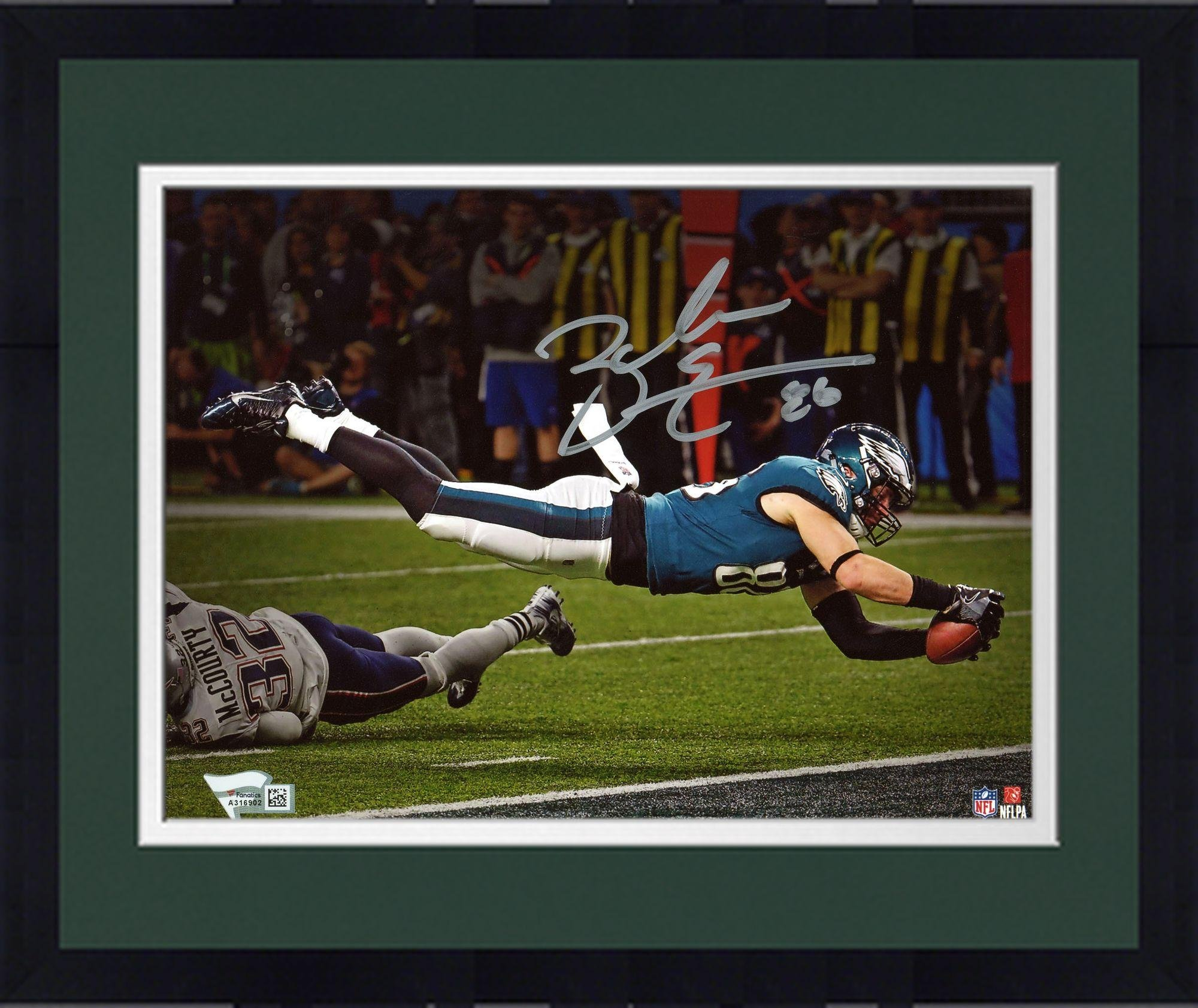 "Framed Zach Ertz Philadelphia Eagles Autographed 8"" x 10"" Super Bowl LII Champions Photograph Fanatics Authentic Certified"