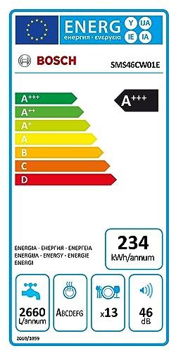 Bosch Serie 4 SMS46CW01E Independiente 13cubiertos A+++ lavavajilla - Lavavajillas (Independiente, Blanco, Tamaño completo (60 cm), Negro, Blanco, ...