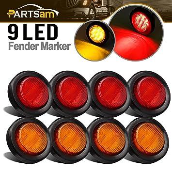 Redondo 2 pulgadas Side Marker luces de rayas forma (Pack de 8): Amazon.es: Coche y moto