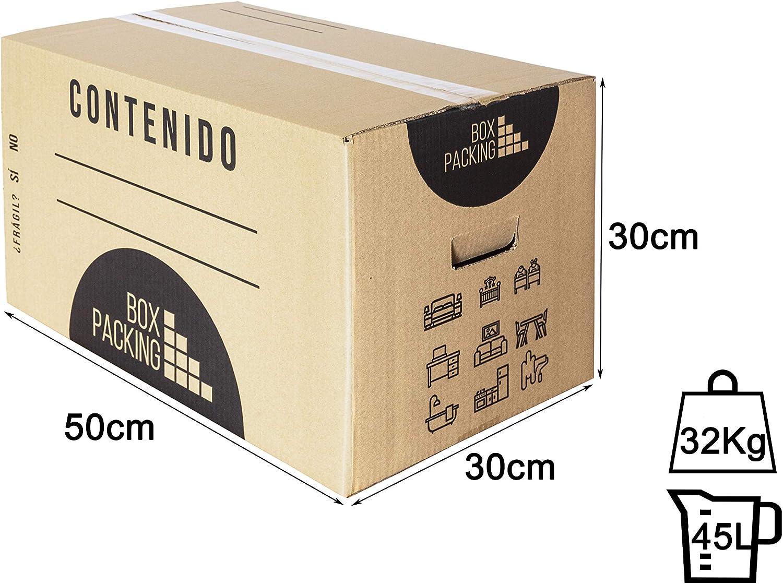 BOXPACKING | Pack 6 Cajas Cartón para Mudanza y Almacenaje | 50x30x30 cm | Con Asas | Tamaño Grande: Amazon.es: Oficina y papelería