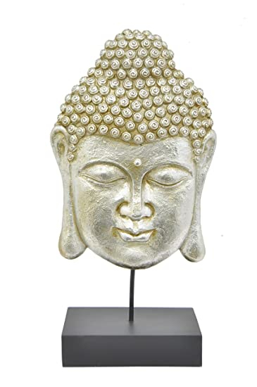 Three Hands Corporation 71525 Buddha Table Top Decor With Stand, Silver