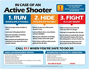 Active Shooter (Run, Hide, Fight) Safety Poster - Active Shooter Instructions - What to do if there is an Active Shooter - Classroom Safety, Workplace Safety Poster - 17 x 22 in, Laminated… (1 PACK, Laminated)