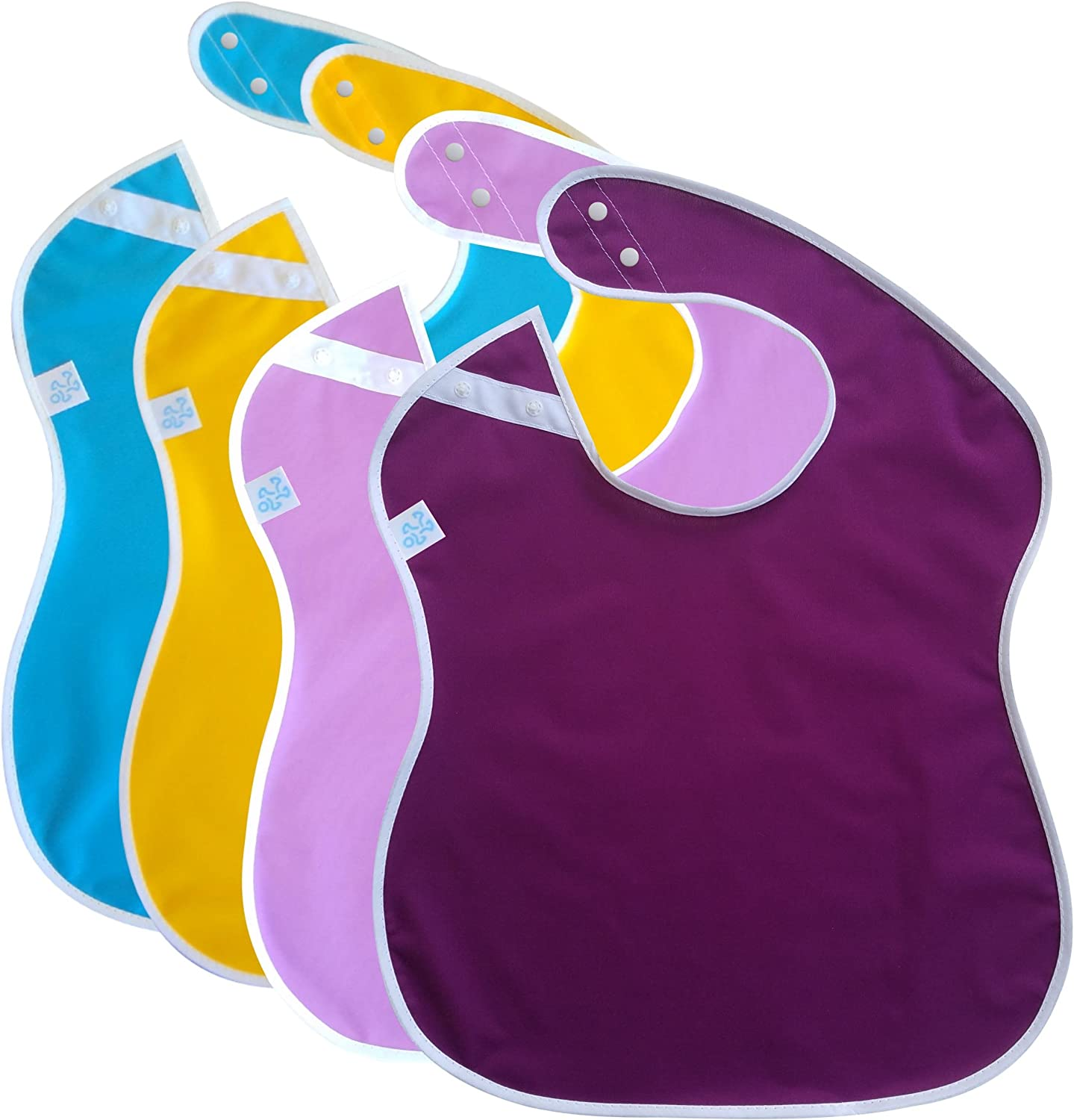 Toppy Toddler Waterproof Boys Girls Pack Baby Bibs, Snap Buttons,18-48 Months