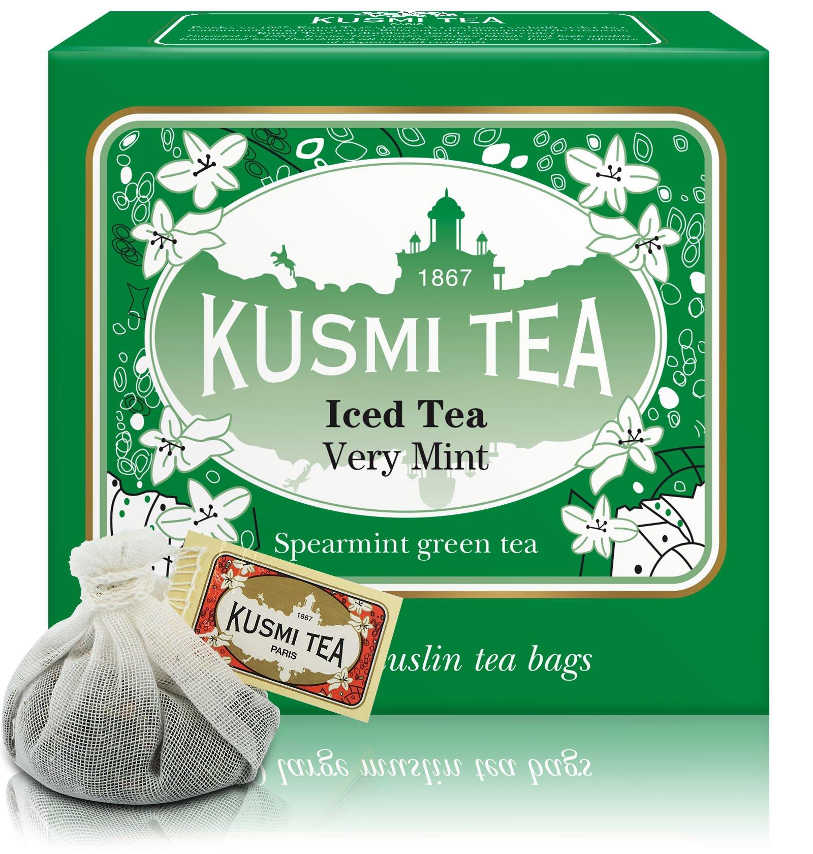 Kusmi Tea - Spearmint Green Tea - Refreshing Green Tea with Spearmint Leaves & Mint Essential Oils - All Natural, Premium Loose Leaf Spearmint Green Tea in 10 Large Eco-Friendly Tea Bags (1 Liter/Bag)
