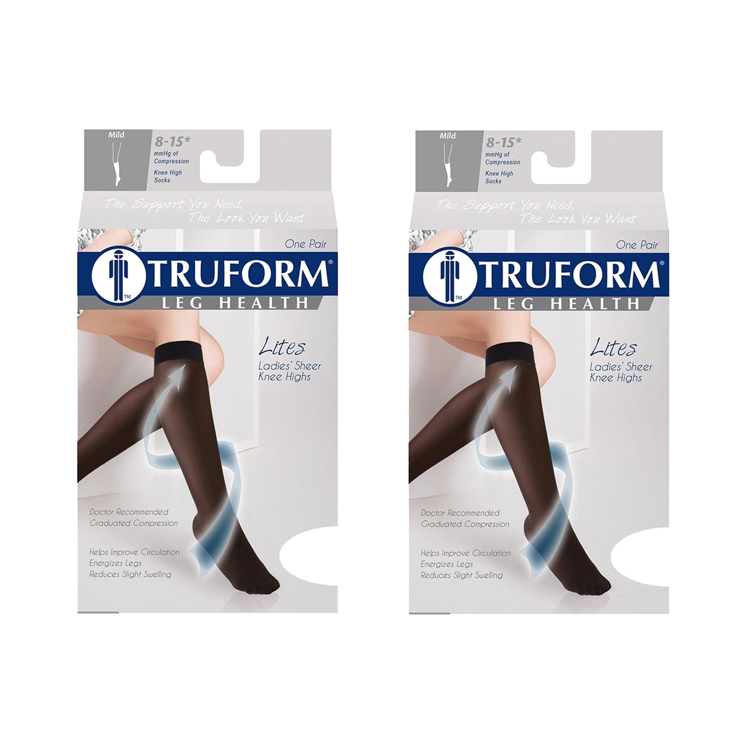Truform Compression 8-15 mmHg Sheer Knee High Stockings Beige, Medium, 2 Count