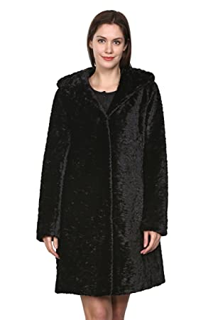 Clearance! Adelaqueen Women's Lush Karakul Blending Faux Fur Coat with Hood