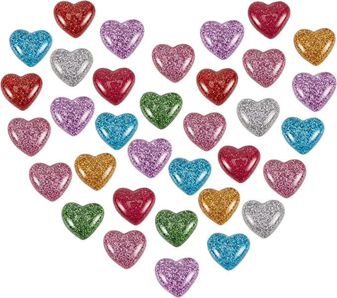 ARRICRAFT 200pcs Clear Transparent Heart Glass Cabochons 8mm for Jewelry Making and Cabochon Settings
