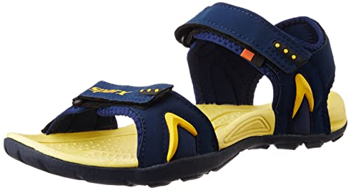 56f7f946073 Sparx Men s Navy Blue and Yellow Athletic   Outdoor Sandals - 8 UK India (