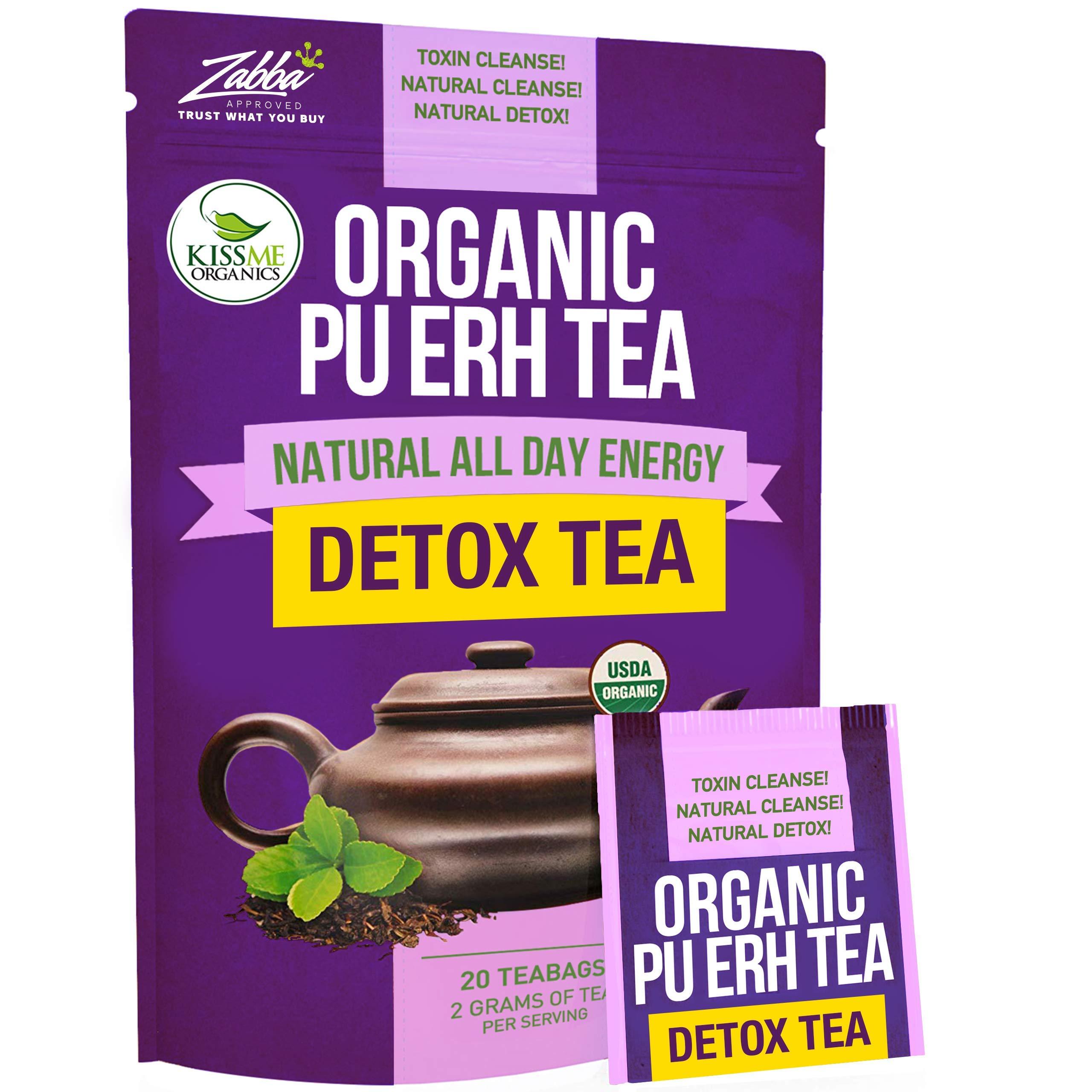 Organic Puerh Detox Tea - Premium Quality Fermented Puerh Tea - Energizing, Detoxifying and Delicious - Aged Black Yunnan Tea - 20 Teabags
