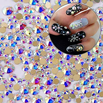 Amazon Iridescent Crystal Ab Shine Round Nail Art Flatbacks