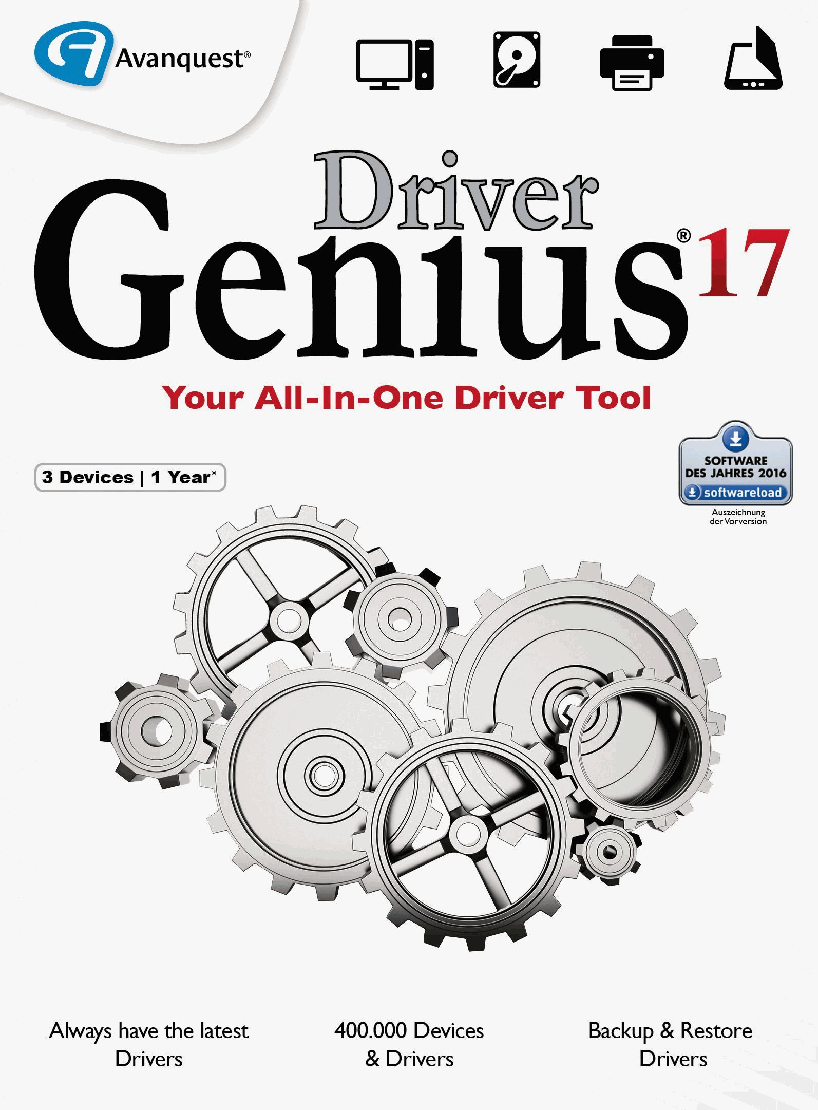 Driver Genius 17 - Keep your drivers up-to-date automatically and keep your PC running like new! Windows 10|8|7 [Download] by Avanquest Software