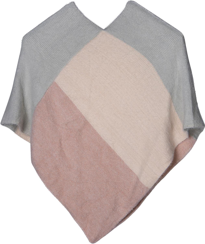 scollo a V morbido e sfrangiato donna 08010050 styleBREAKER poncho in maglia fine con motivo geometrico