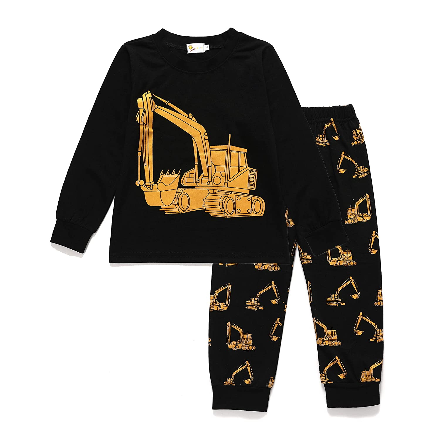 Truck Halloween Pumpkin Little Boys Pajamas Pjs Toddler Sleepwear 100% Cotton Long Sleeve Clothes Sets for Kids 1-6T Tkria