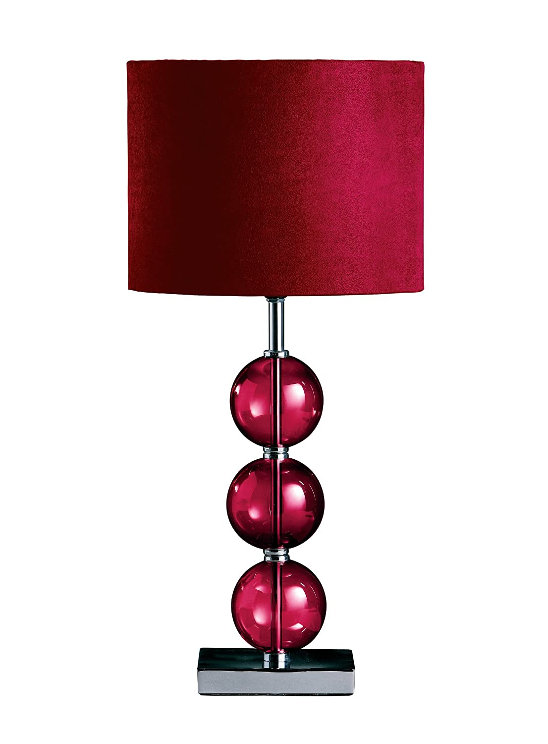 Premier Housewares Mistro Purple Table Lamp with 3 Glass Balls Chrome Base and Faux Suede Shade 2501168 2501168_Purple