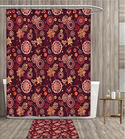 Familytaste Red And Brown Shower Curtain Sets Bathroom Vintage Rich Foliage Pattern Ornamental Spring Flowers