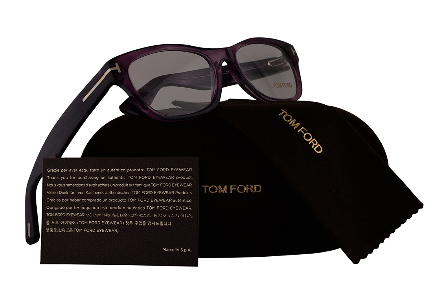 21bb8f45d3b8f5 Amazon.com  Tom Ford FT5425 Eyeglasses 53-17-140 Shiny Violet Crystal  w Demo Clear Lens 081 TF5425 TF 5425 FT 5425  Clothing