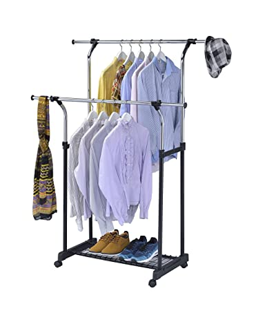 finnhomy double rail adjustable rolling garment rack with wire net at bottom for shoes metal