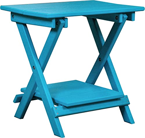 DURAWEATHER POLY Classic King Size Folding End Table 21×14 in Aruba Blue