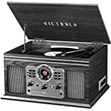 Victrola Nostalgic 6-in-1 Bluetooth Record Player & Multimedia Center with Built-in Speakers - 3-Speed Turntable, CD & Casset