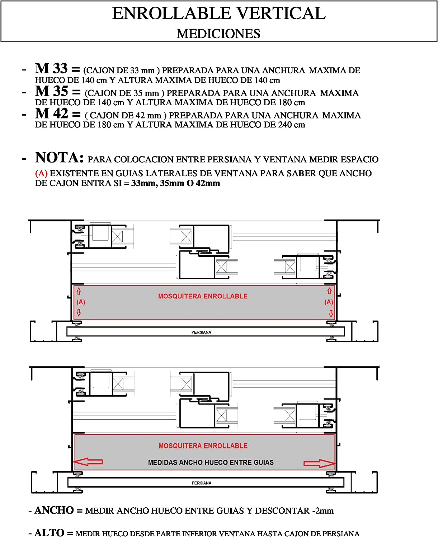 RAL 1000 x 1500 mm FABRICADAS A MEDIDA/… M35 COLORES RAL KIT MOSQUITERA ENROLLABLE VENTANAS Y PUERTAS