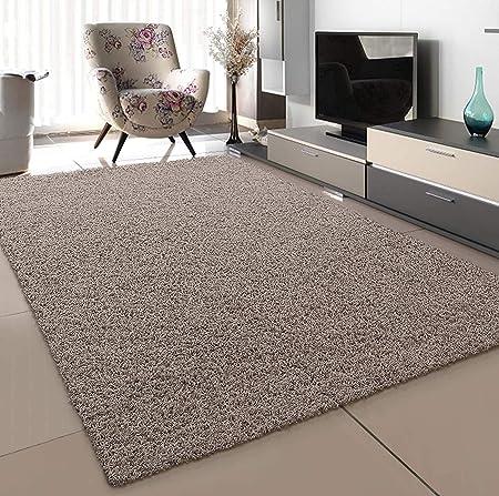 SANAT Teppich Wohnzimmer - Beige Hochflor Langflor Teppiche Modern, Größe:  9x9 cm