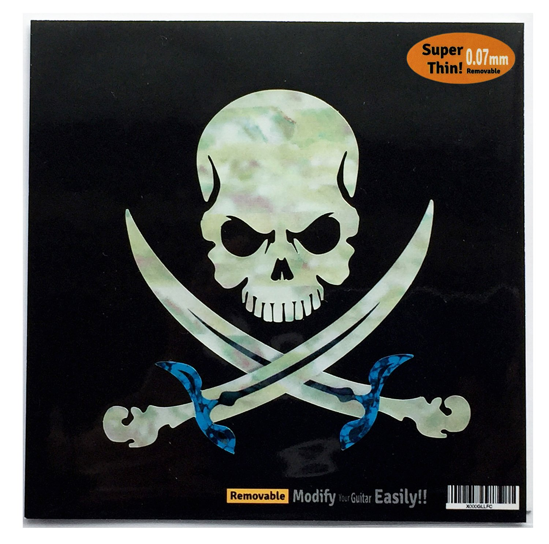 Pirate Skull Inlay Sticker Decal For Guitar & Bass jockomo B-134PS-WT