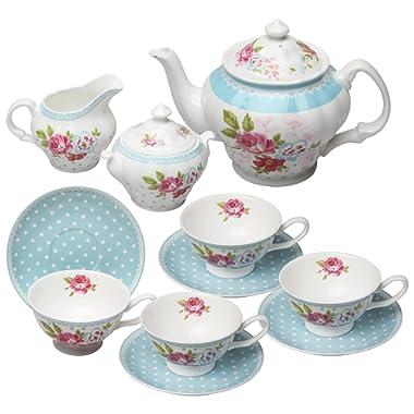 Grace Teaware Bone China 11-Piece Tea Set (Alice Garden)