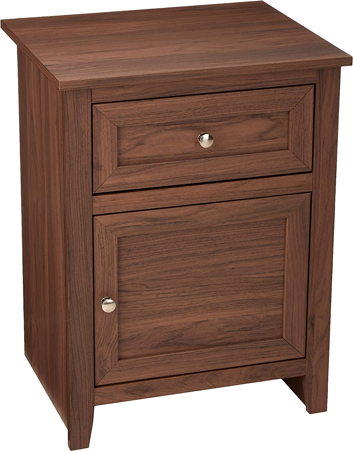 AmazonBasics Classic Wood Nightstand End Table with Cabinet - Walnut