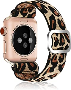 Adjustable Elastic Strap Band for Apple Watch, 42mm 44mm, Ladies and Girls Leopard Band Strap Bracelet Scrunchie Watch Band for iWatch Series 1 2 3 4 5 6 SE