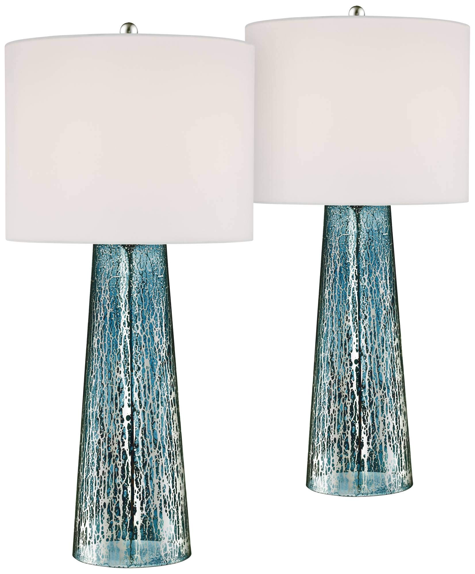 Marcus Coastal Table Lamps Set of 2 Blue Mercury Glass Tapered Column White Drum Shade for Living Room Family Bedroom - 360 Lighting