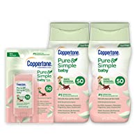 Coppertone Pure & Simple Baby SPF 50 Mineral Based Sunscreen Lotion + Stick Sunscreen Multi-pack (6-Fluid Ounce Bottle, Pack of 2 + 0.49 Ounce Stick) (Package may vary)