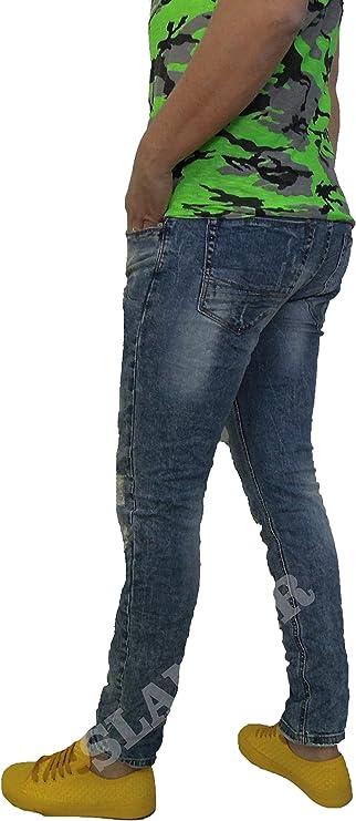sempre dritto Macchina ricevente Cresci  JEANS UOMO SLOOK SLIM FIT STRAPPATO SMILE DENIM PANTALONE 5TASCHE ITALY  SLANGER (44): Amazon.it: Abbigliamento