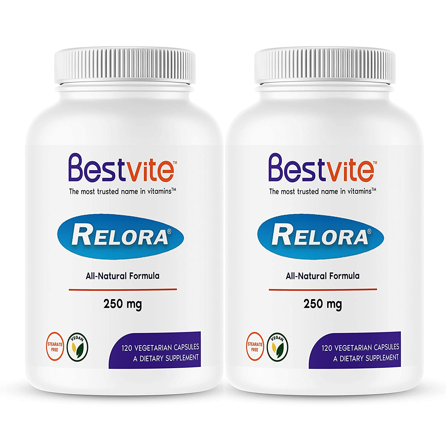 Relora 250mg 240 Vegetarian Capsules 2-Pack No Fillers – No Stearates – No Flow Agents