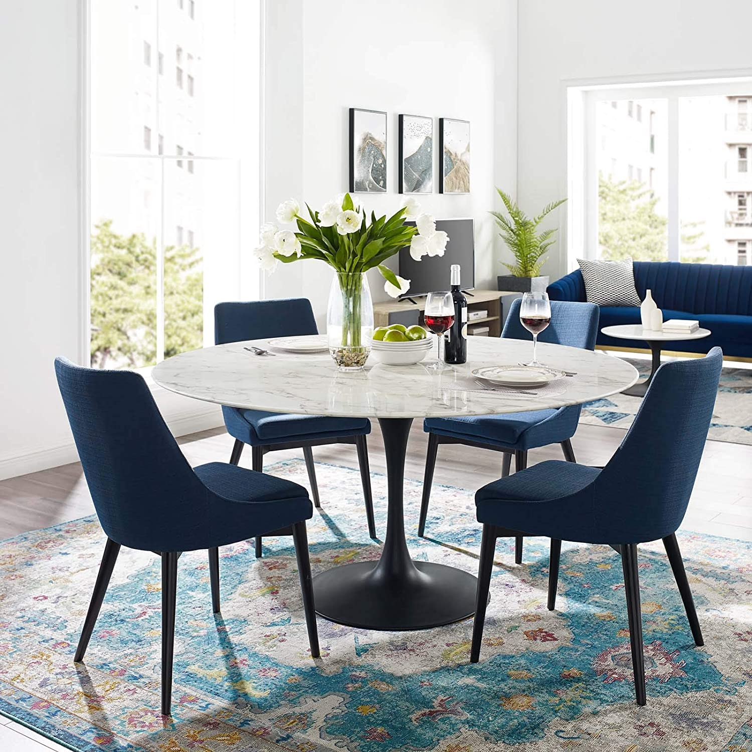 Amazon Com Modway Lippa 54 Round Artificial Marble Dining Table Top Black Base Tables