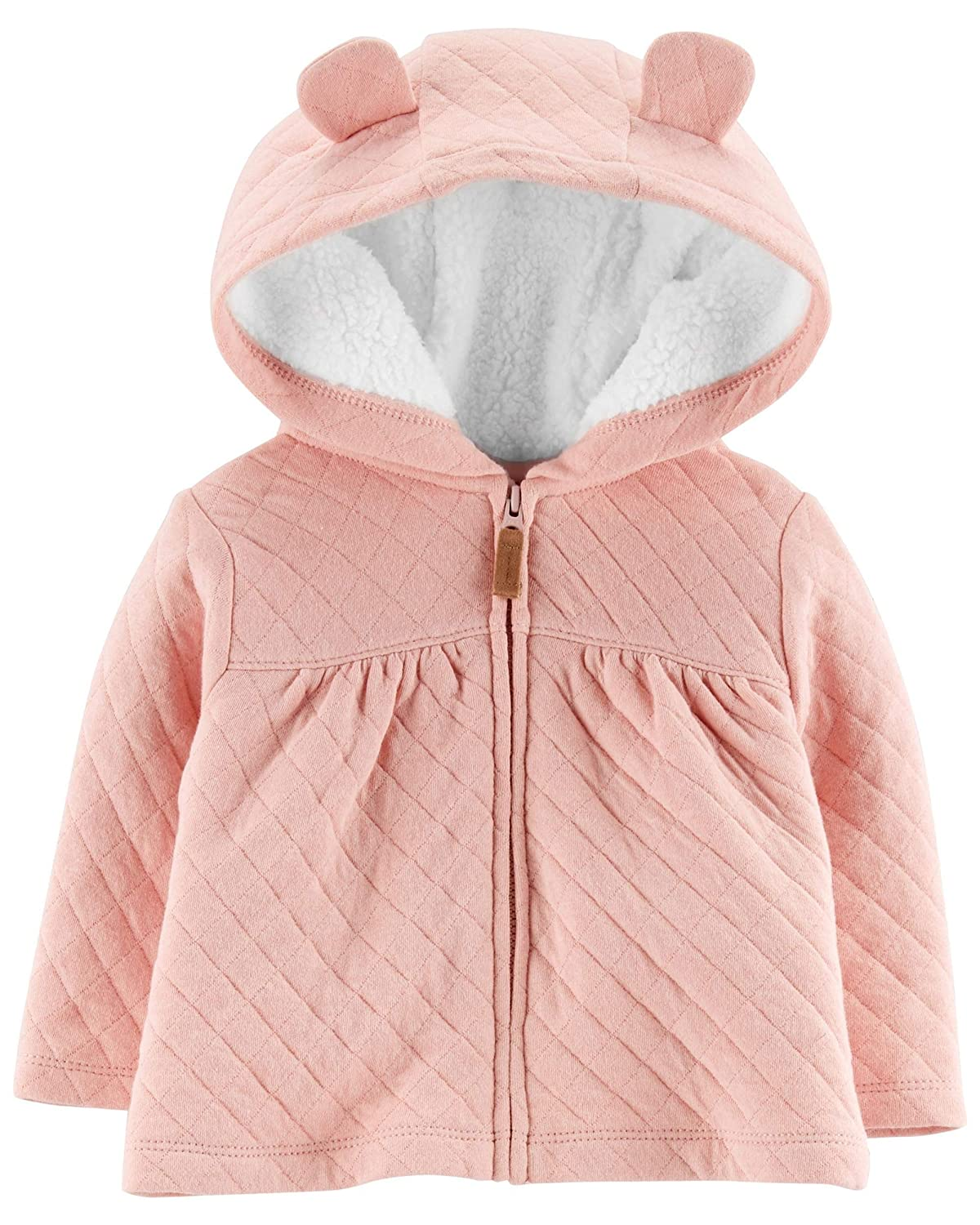 Carters Baby Girls Zip-Up Quilted Heather Jacket Pink