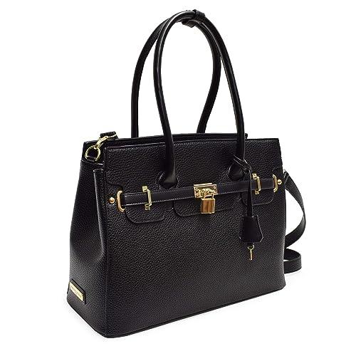 f4cfde209e Adrienne Vittadini Triple Compartment Kelly Collection Pebble Grain Birkin  Bag (Black)