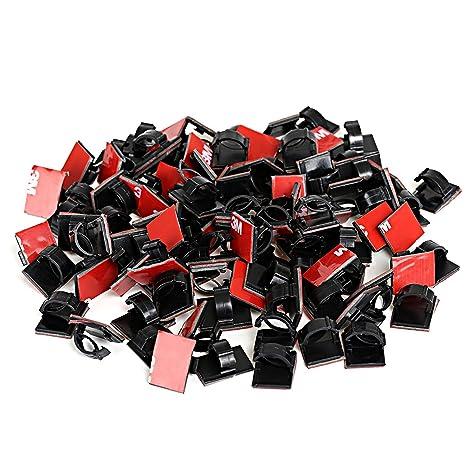 GWHOLE Clip de lazo de cable adhesivo 100 Piezas, Negro