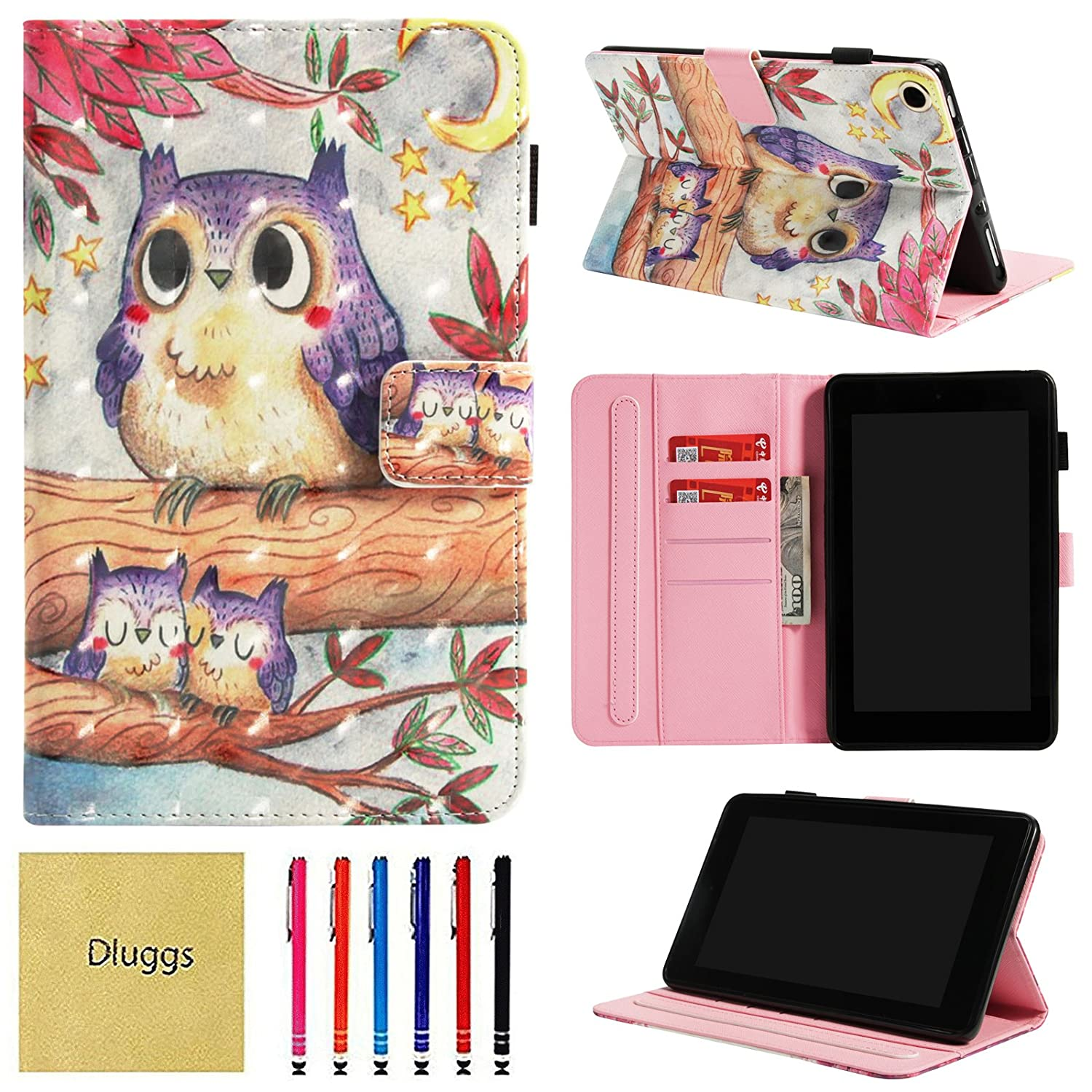 Dluggs Case for All-New  Fire HD 8 Tablet, Folio Smart Case [3D Painting] with Auto Wake/Sleep Feature for Kindle Fire HD 8 7th Generation 2017/6th Generation 2016 8-Inch, Happy Owls MLGS0804