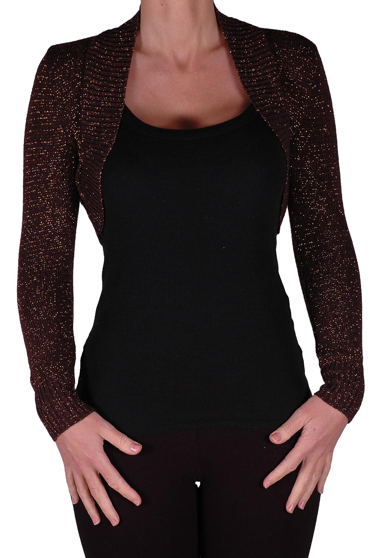 EyeCatchClothing - Lurex Lara Long Sleeve Knitted Bolero Shrug One Size