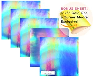 """Turner Moore Edition, Rainbow Adhesive Vinyl, 12"""" x 12"""" Sheets, for Silhouette, Maker, Explore, and All Craft Cutters + Bonus Gold Opal Sheet! (Holographic Adhesive Vinyl, 5-Pack)"""