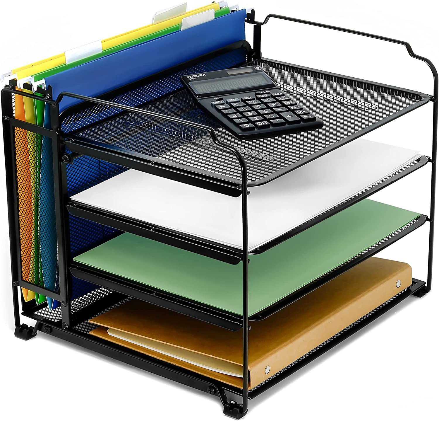 CAXXA 4 Tier Mesh Document Trays with Vertical Upright Section for Hanging File Holders, Mesh Office Supplies Desk Organizer, BLACK: Home Improvement