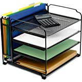 CAXXA 4 Tier Mesh Document Trays with Vertical Upright Section for Hanging File Holders, Mesh Office Supplies Desk Organizer,
