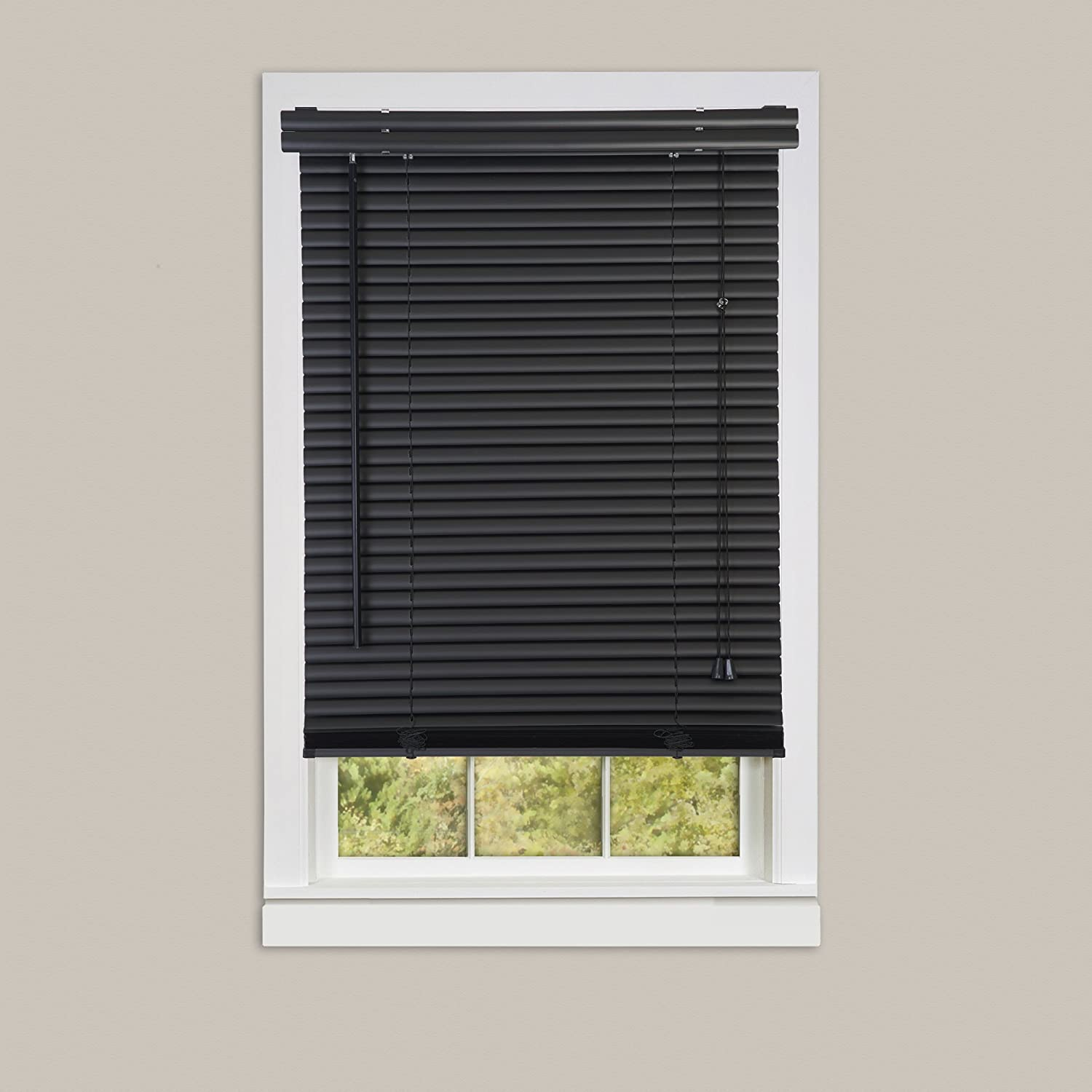 Achim Home Furnishings Morning Star 1-Inch Mini Blinds, 48 by 64-Inch, Black VY4864BK04