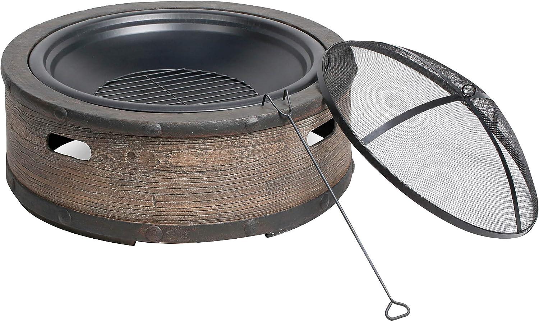 Sun Joe SJFP35-STN-BRL 35-in. Cast Stone Base, Wood Burning Fire Pit w/Dome Screen and Poker, Rustic Barrel