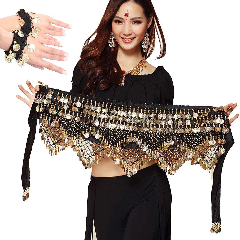 Belly Dance Hip Scarf Skirt Wrap Dancing Costume Noisy Coins Belt Waist Chain
