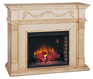 28wm184t408 gossamer wall fireplace mantel antique ivory electric fireplace insert sold - Antique Fireplace Mantels