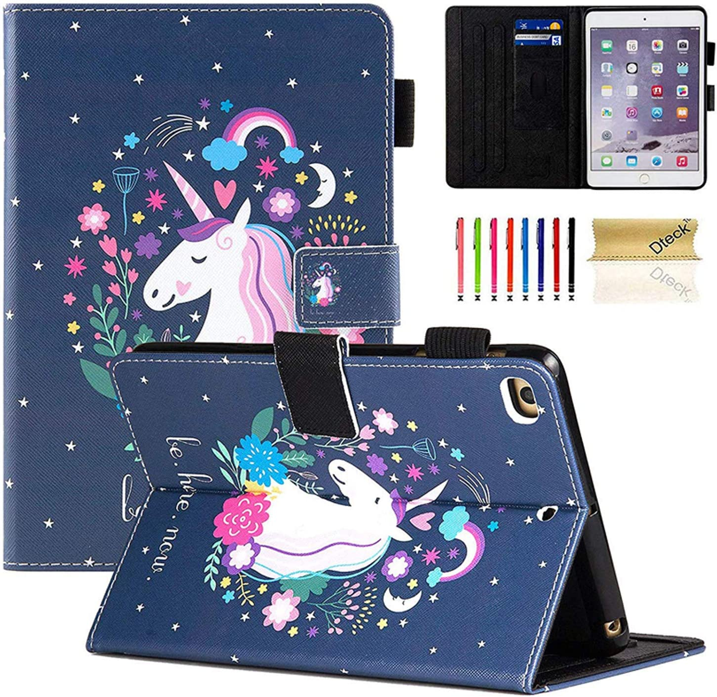 Dteck iPad Mini 1/2/3/4/5 Case - Slim Fit Premium PU Leather Multiple Viewing Folio Stand Cover with Auto Wake/Sleep Smart for Apple iPad Mini 2/Mini 3/Mini 4/Mini 5, Fashion Unicorn