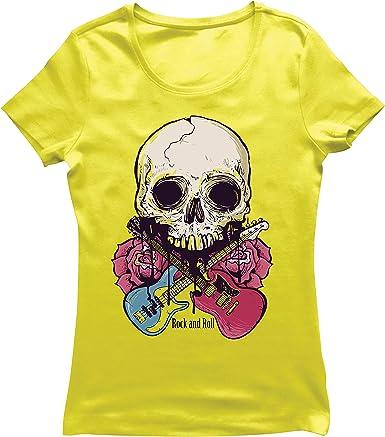 lepni.me Camiseta Mujer Guitarras, Calavera, Rosas - Amantes del Concierto de Rock & Roll
