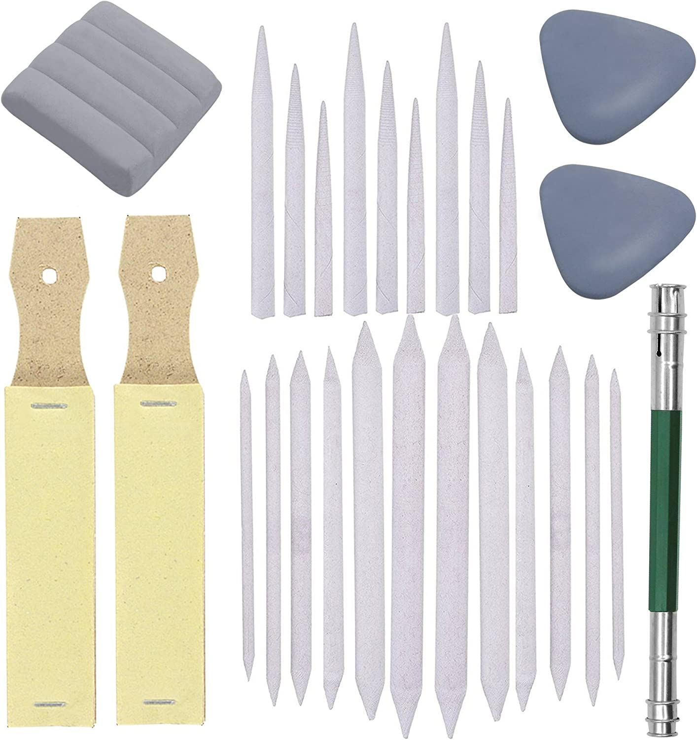 Doubletwo2 Set of 27 Blending Stumps Tortillions Set Pieces Sandpaper Pencil Sharpener and One Pencil Extension Tool Drawing Art kneaded Erasers and Gloss Erasers for Student Sketch Drawing