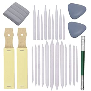 Set of 27 Blending Stumps Tortillions Set Pieces Sandpaper Pencil Sharpener And One Pencil Extension Tool Drawing Art kneaded Erasers And Gloss Erasers For Student Sketch Drawing